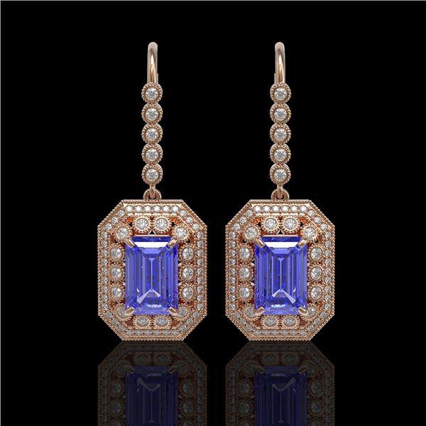 11.66 ctw Tanzanite & Diamond Victorian Earrings 14K Rose Gold - REF-672A8N