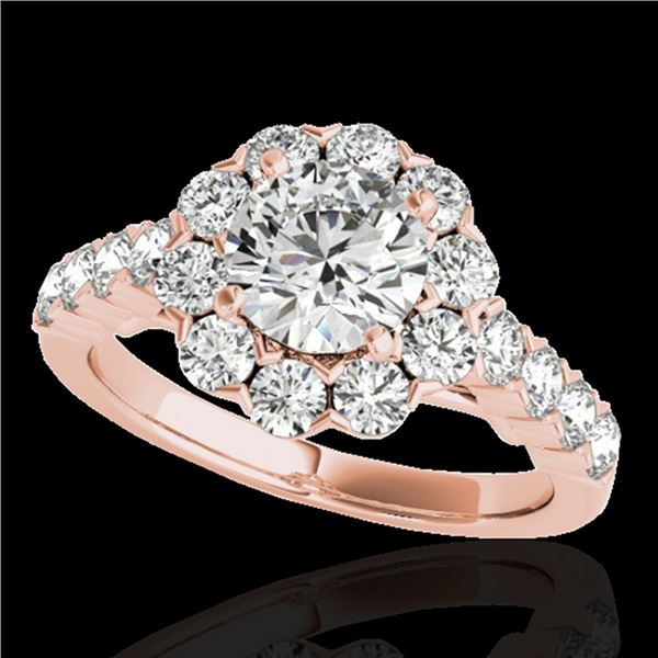 2.35 ctw Certified Diamond Solitaire Halo Ring 10k Rose Gold - REF-252X3A