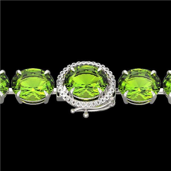 67 ctw Peridot & Micro Pave Diamond Bracelet 14k White Gold - REF-428R8K