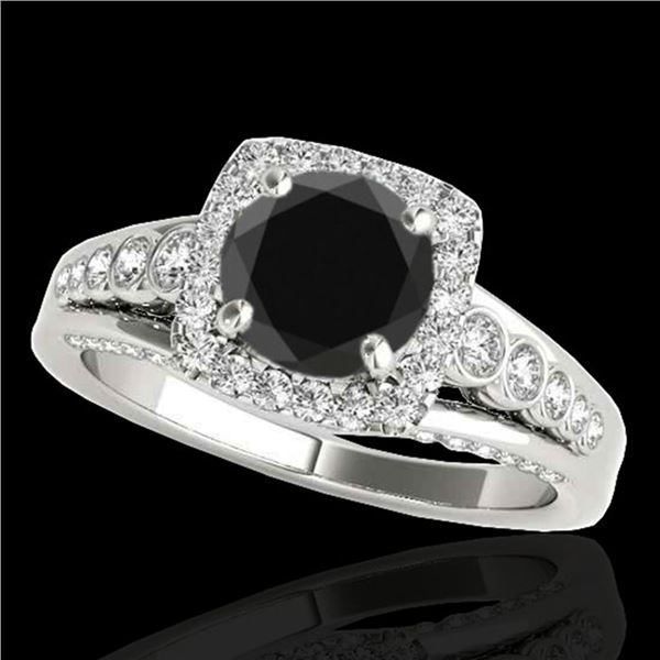 1.75 ctw Certified VS Black Diamond Solitaire Halo Ring 10k White Gold - REF-73X4A