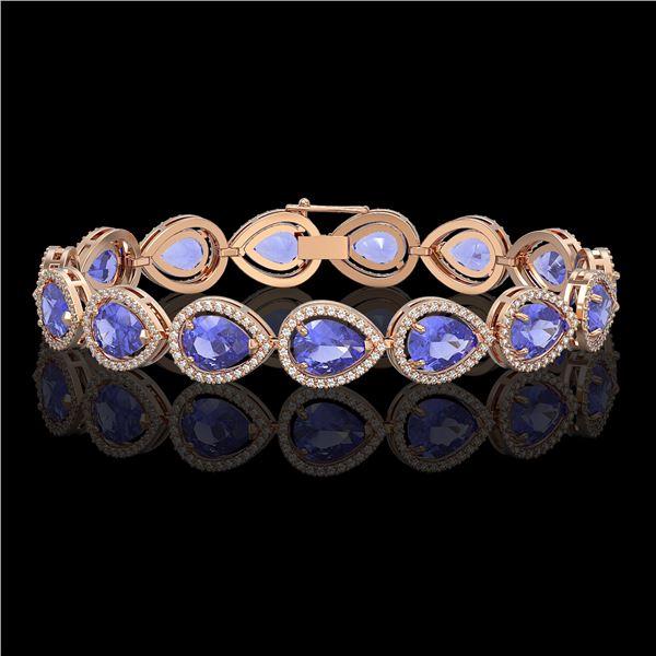 21.06 ctw Tanzanite & Diamond Micro Pave Halo Bracelet 10k Rose Gold - REF-532N4F
