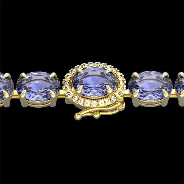32 ctw Tanzanite & VS/SI Diamond Micro Bracelet 14k Yellow Gold - REF-328R9K