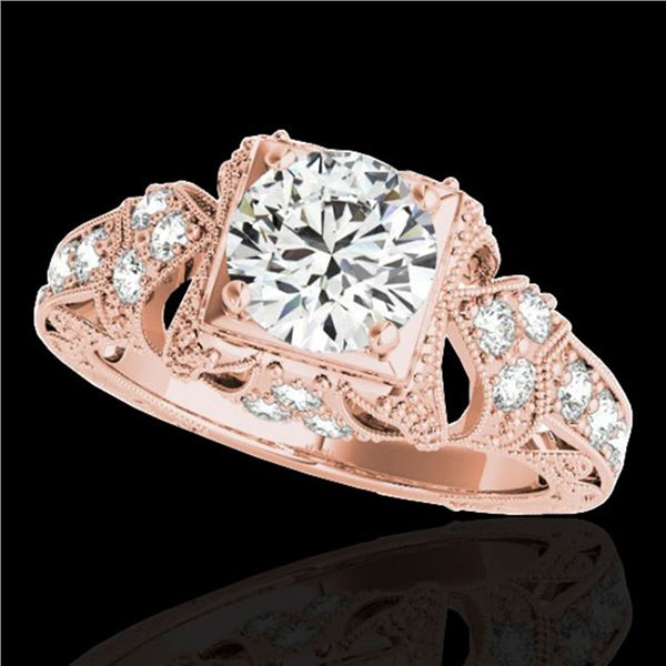 1.25 ctw Certified Diamond Solitaire Antique Ring 10k Rose Gold - REF-184X3A