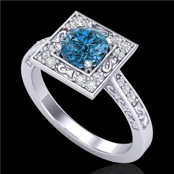 1.1 ctw Intense Blue Diamond Engagment Art Deco Ring 18k White Gold - REF-169W3H