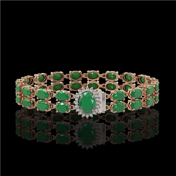30.12 ctw Emerald & Diamond Bracelet 14K Rose Gold - REF-336A4N