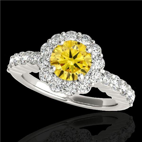 1.75 ctw Certified SI/I Fancy Intense Yellow Diamond Ring 10k White Gold - REF-211X4A