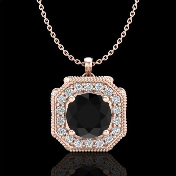 1.54 ctw Fancy Black Diamond Art Deco Stud Necklace 18k Rose Gold - REF-120X2A