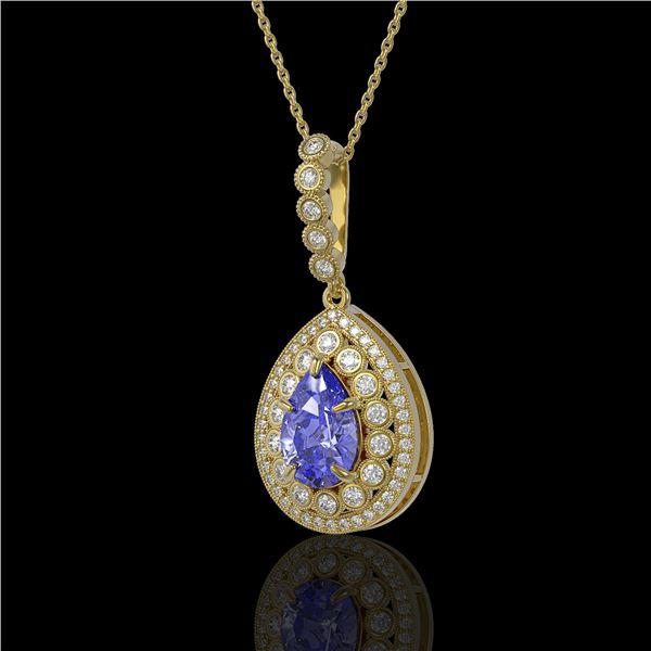 4.47 ctw Tanzanite & Diamond Victorian Necklace 14K Yellow Gold - REF-245A5N