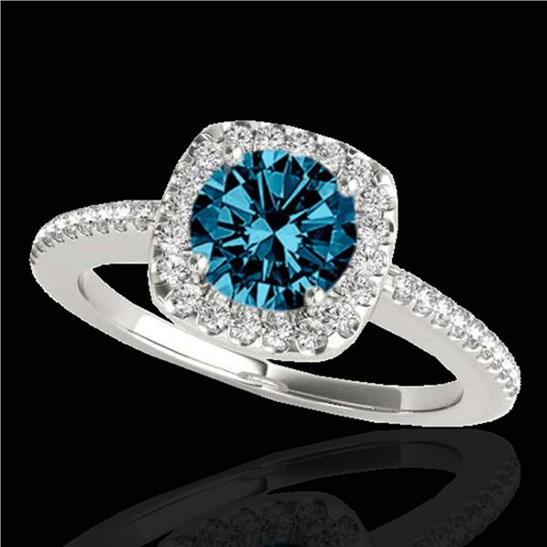 1.25 ctw SI Certified Fancy Blue Diamond Halo Ring 10k White Gold - REF-150N2F
