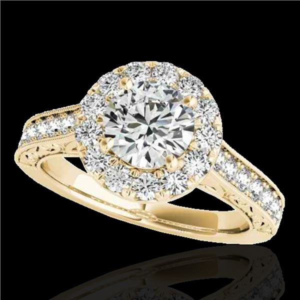 1.7 ctw Certified Diamond Solitaire Halo Ring 10k Yellow Gold - REF-218F2M