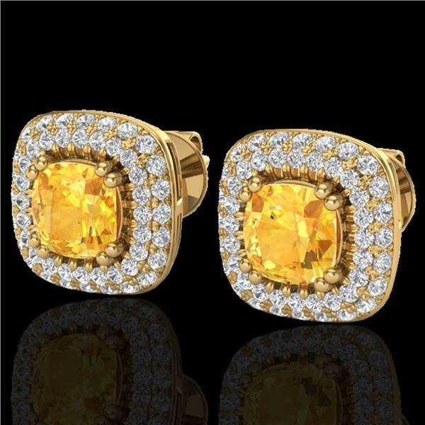 2.16 ctw Citrine & Micro VS/SI Diamond Earrings Halo 18k Yellow Gold - REF-103H6R