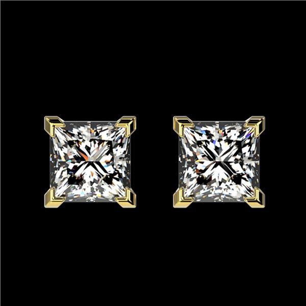 1 ctw Certified VS/SI Quality Princess Diamond Stud Earrings 10k Yellow Gold - REF-120F3M