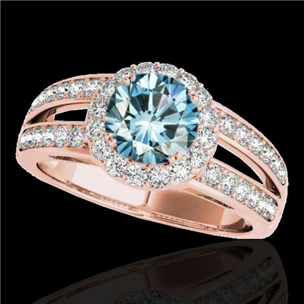 1.6 ctw SI Certified Fancy Blue Diamond Solitaire Halo Ring 10k Rose Gold - REF-135Y2X