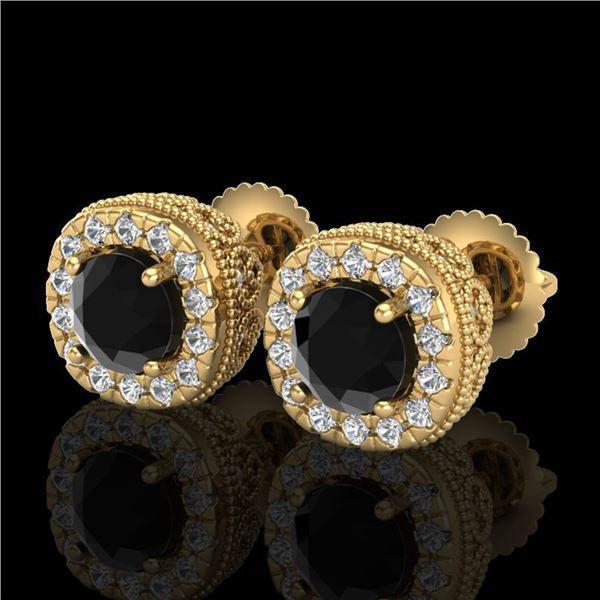 1.69 ctw Fancy Black Diamond Art Deco Stud Earrings 18k Yellow Gold - REF-121F8M