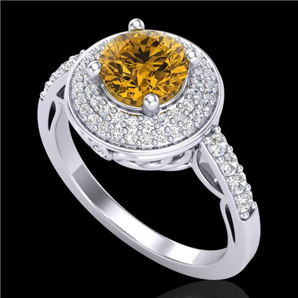 1.7 ctw Intense Fancy Yellow Diamond Art Deco Ring 18k White Gold - REF-309A3N