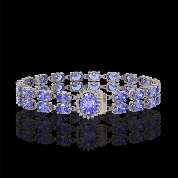 16.37 ctw Tanzanite & Diamond Bracelet 14K White Gold - REF-263F6M