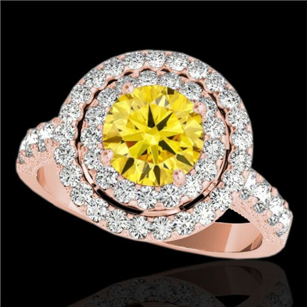2.25 ctw Certified SI/I Fancy Intense Yellow Diamond Ring 10k Rose Gold - REF-218H2R