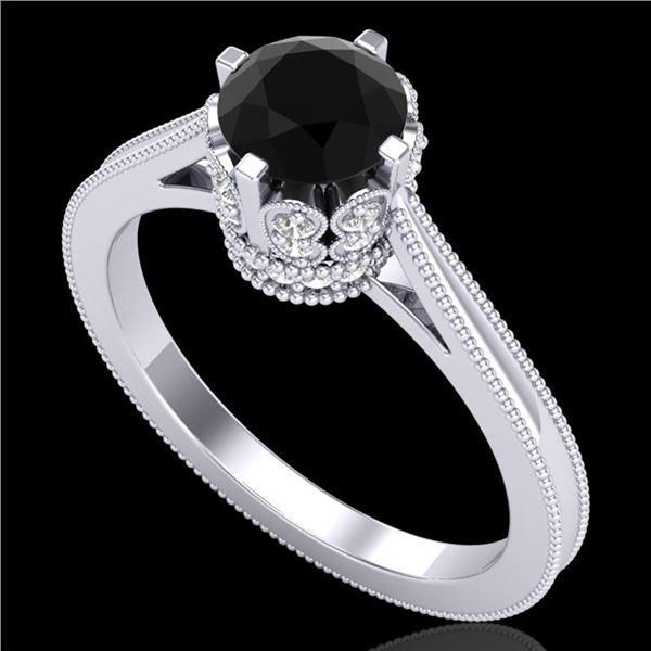 1.14 ctw Fancy Black Diamond Engagment Art Deco Ring 18k White Gold - REF-94G5W
