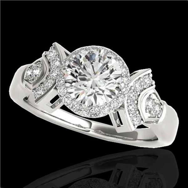 1.56 ctw Certified Diamond Solitaire Halo Ring 10k White Gold - REF-245R5K