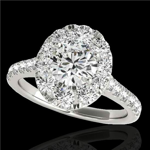 2 ctw Certified Diamond Solitaire Halo Ring 10k White Gold - REF-229N3F