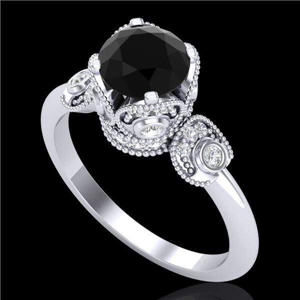 1.75 ctw Fancy Black Diamond Engagment Art Deco Ring 18k White Gold - REF-134K5Y