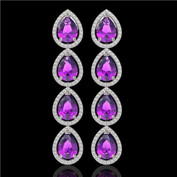 10.85 ctw Amethyst & Diamond Micro Pave Halo Earrings 10k White Gold - REF-172W8H