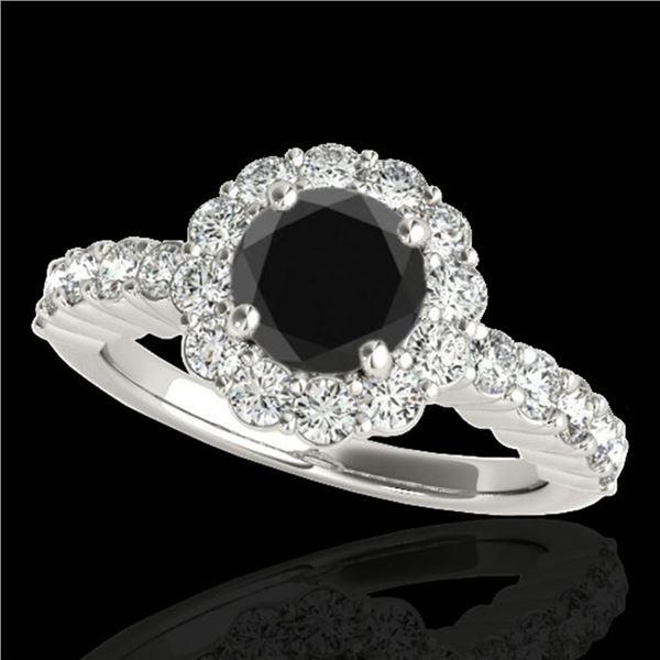 1.75 ctw Certified VS Black Diamond Solitaire Halo Ring 10k White Gold - REF-66F8M