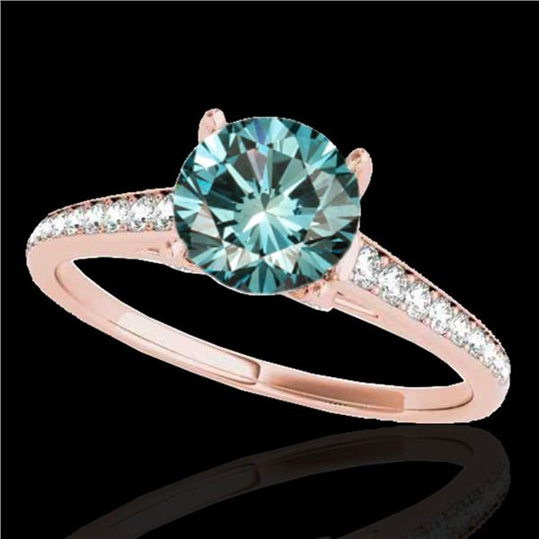 1.5 ctw SI Certified Fancy Blue Diamond Solitaire Ring 10k Rose Gold - REF-132M3G