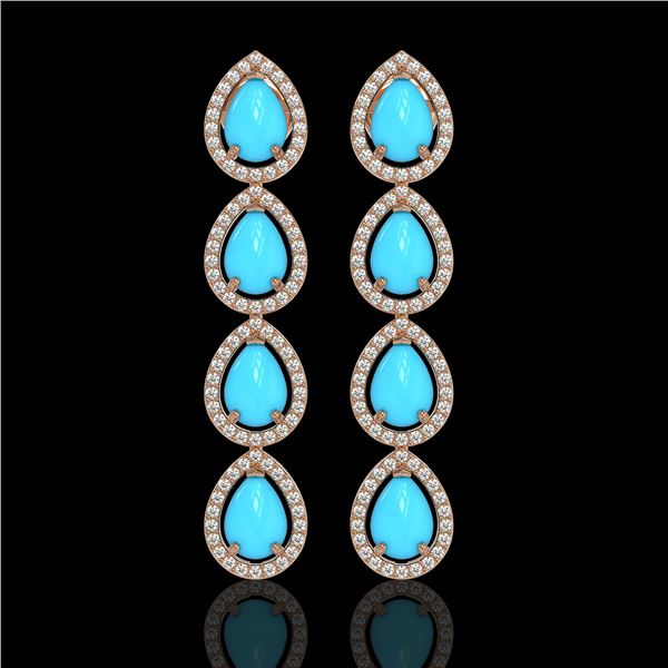 6.20 ctw Turquoise & Diamond Micro Pave Halo Earrings 10k Rose Gold - REF-158G2W