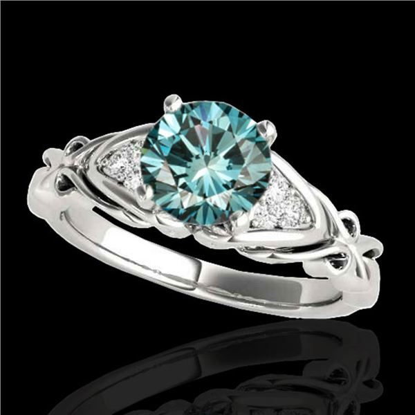 1.35 ctw SI Certified Fancy Blue Diamond Solitaire Ring 10k White Gold - REF-150Y2X