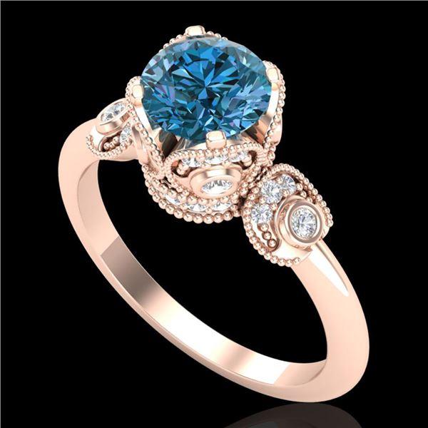 1.75 ctw Fancy Intense Blue Diamond Art Deco Ring 18k Rose Gold - REF-236Y4X