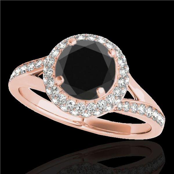 1.6 ctw Certified VS Black Diamond Solitaire Halo Ring 10k Rose Gold - REF-57K8Y