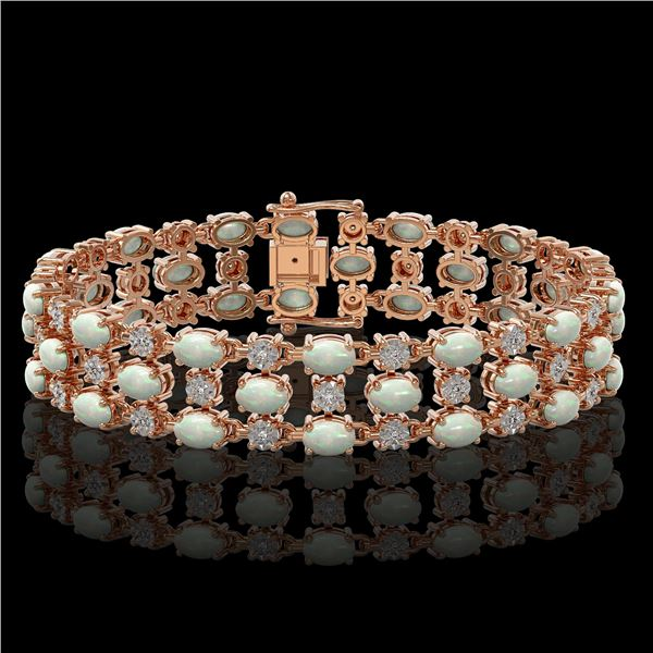 12.7 ctw Opal & Diamond Row Bracelet 10K Rose Gold - REF-245R5K
