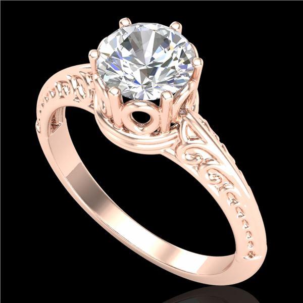 1 ctw VS/SI Diamond Art Deco Ring 18k Rose Gold - REF-361Y8X