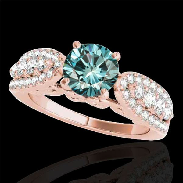1.7 ctw SI Certified Fancy Blue Diamond Solitaire Ring 10k Rose Gold - REF-135X2A