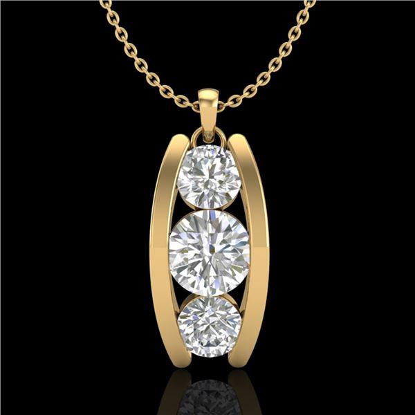 1.07 ctw VS/SI Diamond Art Deco Stud Necklace 18k Yellow Gold - REF-178A2N