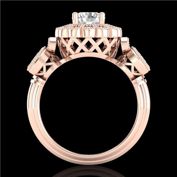 1.5 ctw VS/SI Diamond Solitaire Art Deco 3 Stone Ring 18k Rose Gold - REF-300K2Y
