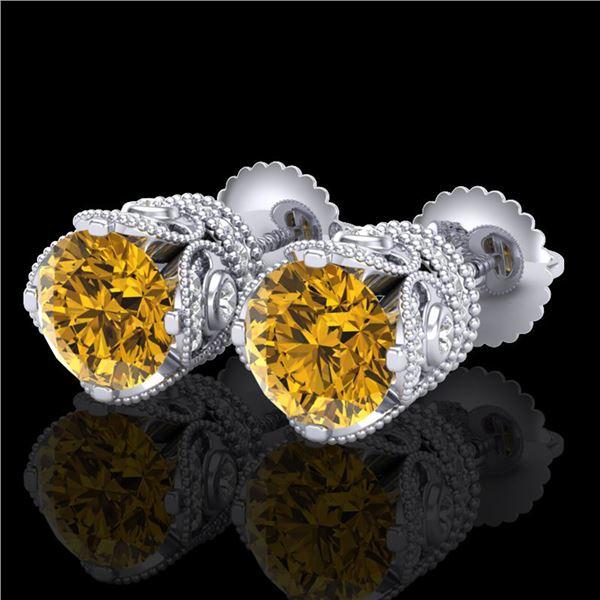 3 ctw Intense Fancy Yellow Diamond Art Deco Earrings 18k White Gold - REF-636M4G