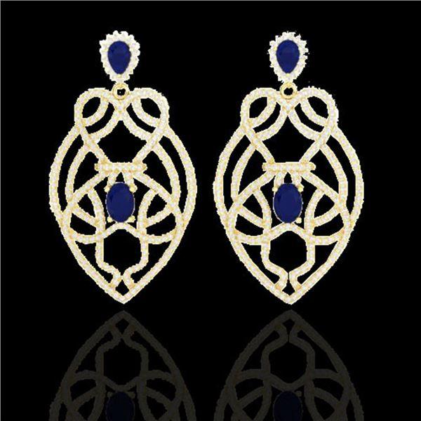 7 ctw Sapphire & Micro VS/SI Diamond Heart Earrings 14k Yellow Gold - REF-381W8H