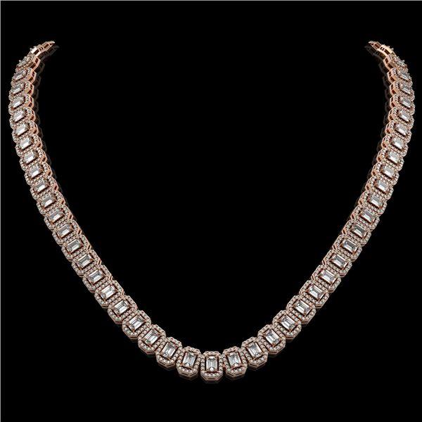 26.11 ctw Emerald Cut Diamond Micro Pave Necklace 18K Rose Gold - REF-3101F2M