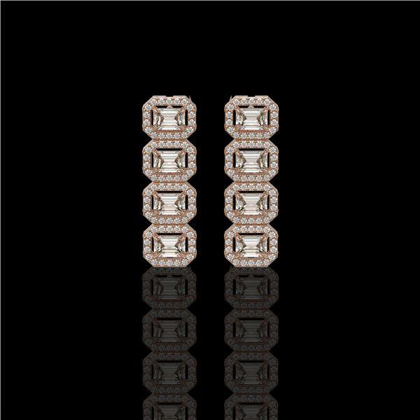 3.84 ctw Emerald Cut Diamond Micro Pave Earrings 18K Rose Gold - REF-459H8R