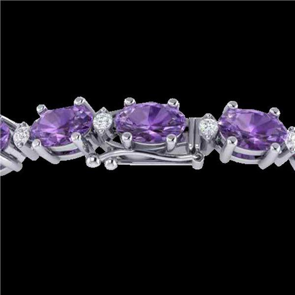25.8 ctw Amethyst & VS/SI Diamond Eternity Bracelet 10k White Gold - REF-122Y9X