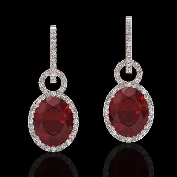 8 ctw Garnet & Micro Pave Halo VS/SI Diamond Earrings 14k Rose Gold - REF-100W2H