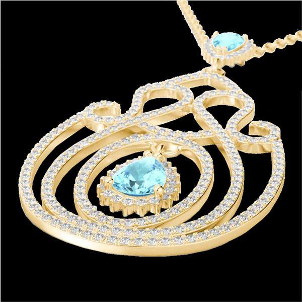3.20 ctw Sky Blue Topaz & Micro Diamond Heart Necklace 14k Yellow Gold - REF-212Y8X
