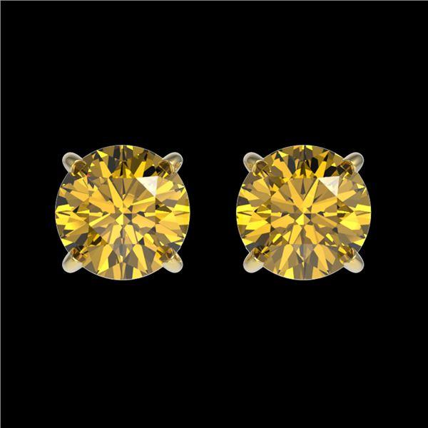 1.04 ctw Certified Intense Yellow Diamond Stud Earrings 10k Yellow Gold - REF-95N3F