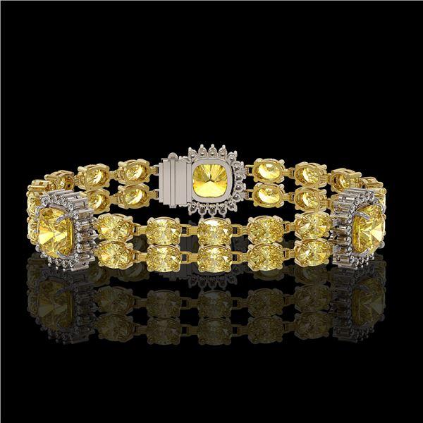 15.95 ctw Citrine & Diamond Bracelet 14K Yellow Gold - REF-263G6W