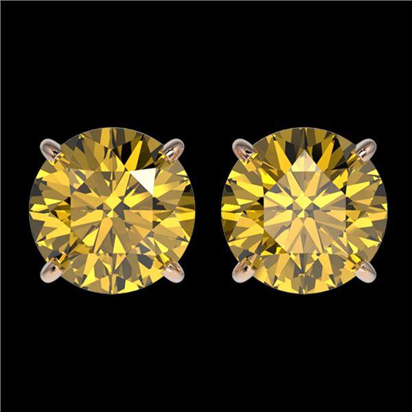 2.57 ctw Certified Intense Yellow Diamond Stud Earrings 10k Rose Gold - REF-349W8H