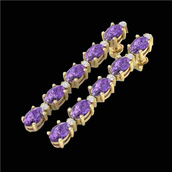 15.47 ctw Amethyst & VS/SI Certified Diamond Tennis Earrings 10k Yellow Gold - REF-75R6K