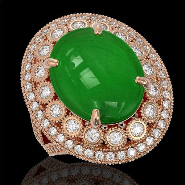 9.27 ctw Jade & Diamond Victorian Ring 14K Rose Gold - REF-245Y5X