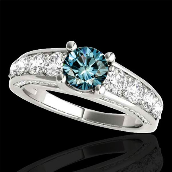 3.05 ctw SI Certified Fancy Blue Diamond Solitaire Ring 10k White Gold - REF-286M4G